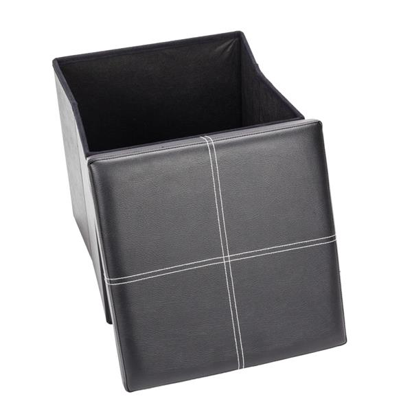 F-03S Practical PVC Leather Square Shape Surface with Line Footstool Black