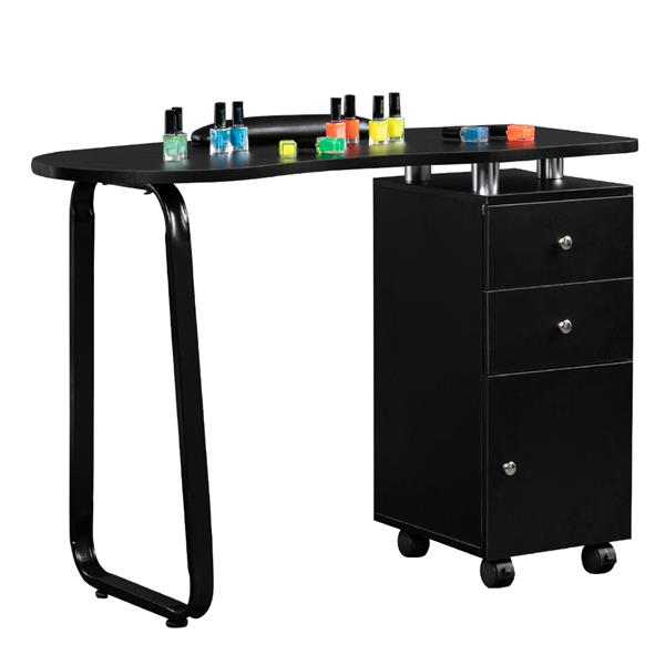 Manicure Table Unilateral Square/2 Drawers/1 Door/With Hand Pillow/With Wheels Black