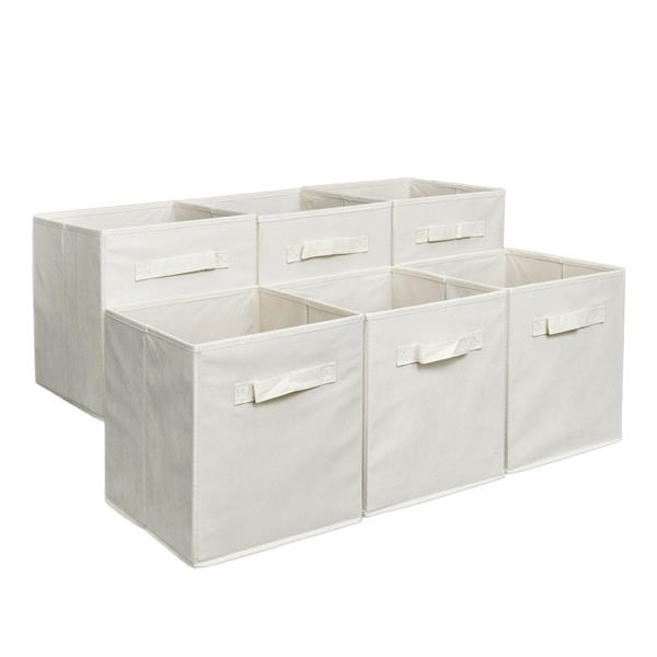 6pcs High Quality Non-woven Fabrics Storage Boxes Beige