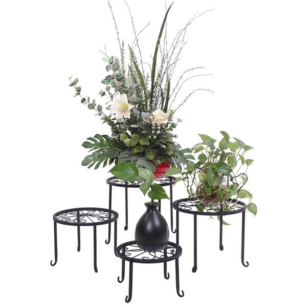 4 Plant Shelves with 4-1 Round Pattern in Black Baking Paint