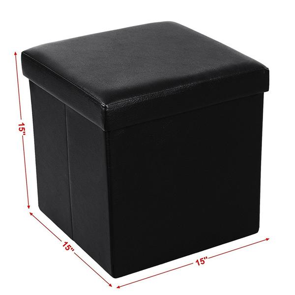 [FCH] PU Leather Smooth Footstool Black 38*38*38cm