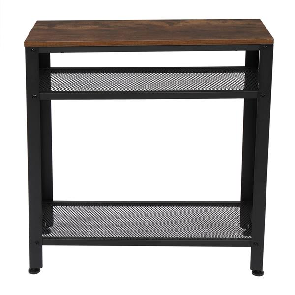Industrial Side Table, End Telephone Table with 2-Tier Mesh Shelves, for Office Hallway or Living Room