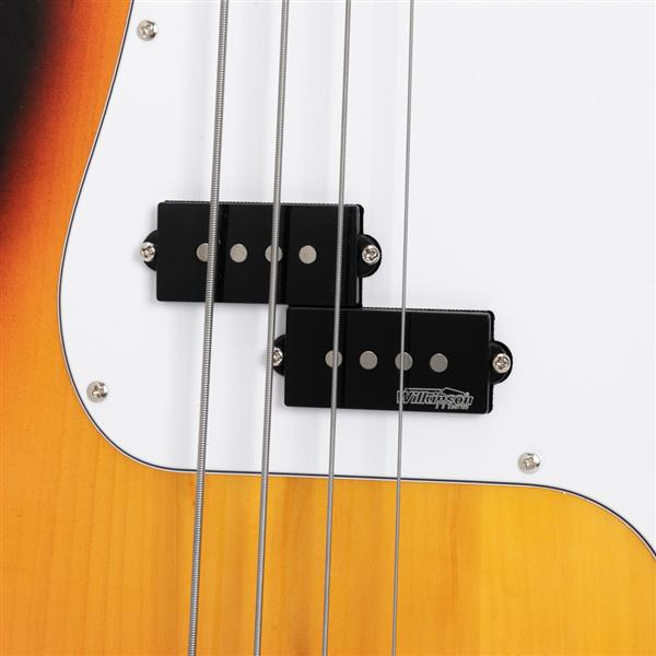 Glarry GP II Electric Bass Guitar with Wilkinson Pickup,Warwick Bass Strings,Bone Nut Sunset Color