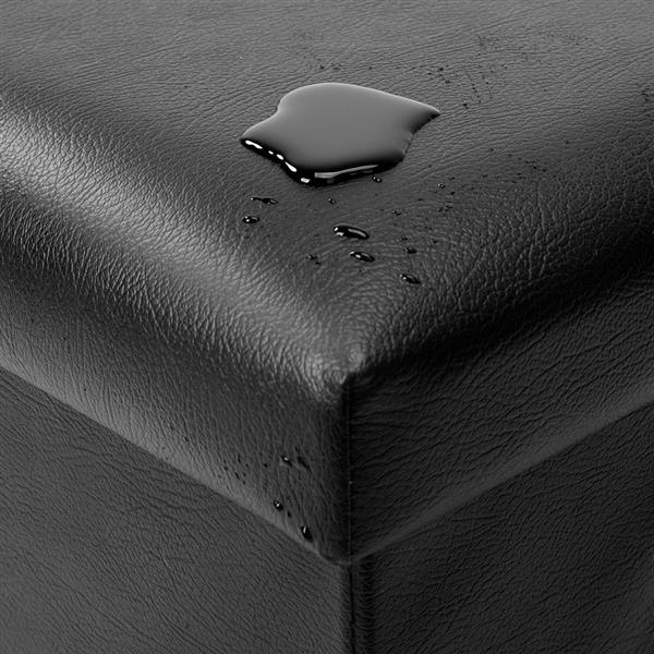 [FCH] PU Leather Footstool with Leather Footstool Black 38*38*38cm
