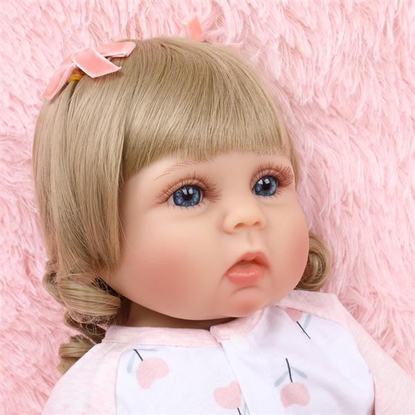 Full Glue Simulation Doll: 18 Inches Pink And White Flower Pajamas Baby
