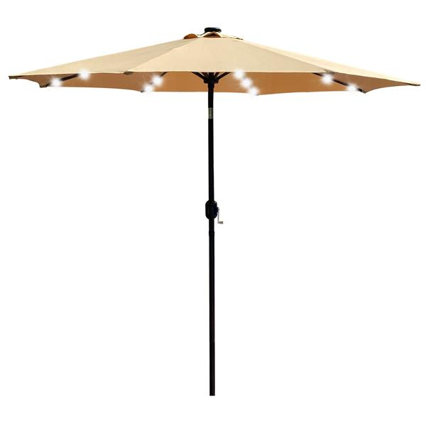 9Ft Patio Umbrella Outdoor Solar Powered Aluminum Polyester 32 LED Lighted Umbrella with Tilt and Crank for Garden, Deck, Backyard, Pool,Taupe