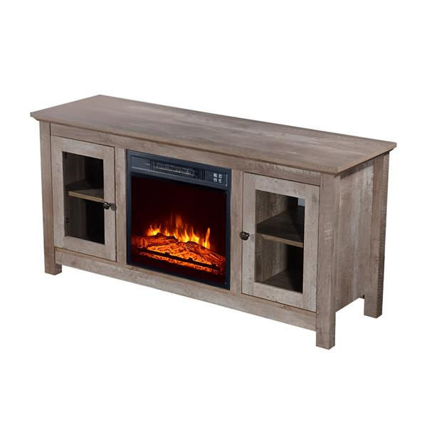 ZOKOP SF03-18G HA114-51 51-Inch Log Cyan Fireplace TV Cabinet 1400W Single Color/Fake Wood/Heating Wire/With Small Remote Control Movement Black