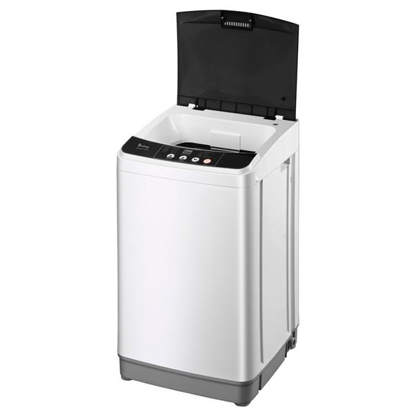 ZOKOP Full-Automatic Washing Machine Portable Compact Laundry Washer Spin with Drain Pump,10 programs 8 Water Level Selections with LED Display 10 Lbs Capacity, Gray