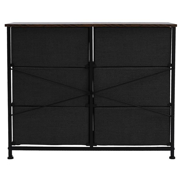 3-Tier Wide Dresser, Storage Unit with 6 Easy Pull Fabric Drawers, Metal Frame, and Wooden Tabletop, for Closet, Nursery, Hallway,Gray