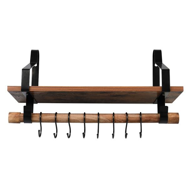 Floating Shelf Wall Shelf Rustic Wood Kitchen Spice Rack with Towel Bar and 8 Removable Hooks for Organize Cooking Utensils or Mugs, Vintage