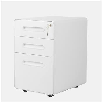 39cm Wide Rounded Corner Cabinet with Plastic Handle White