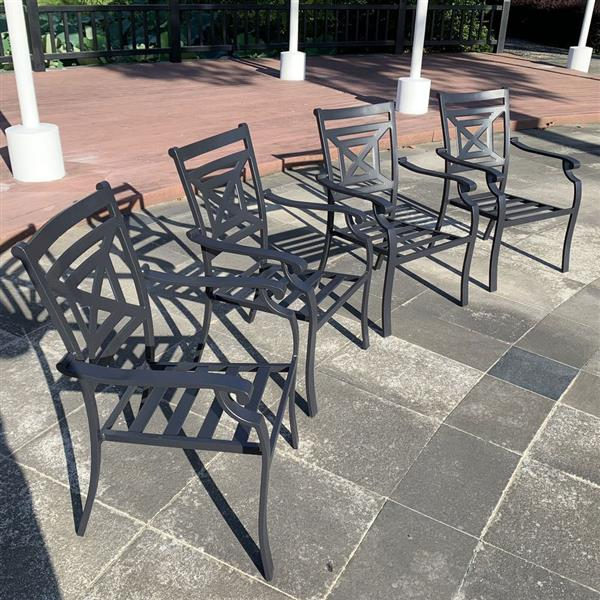 4 Pieces Stacking Chairs From Patio Metal Dining Furniture Set With Cushion, for Outdoor Lawn Garden, Black