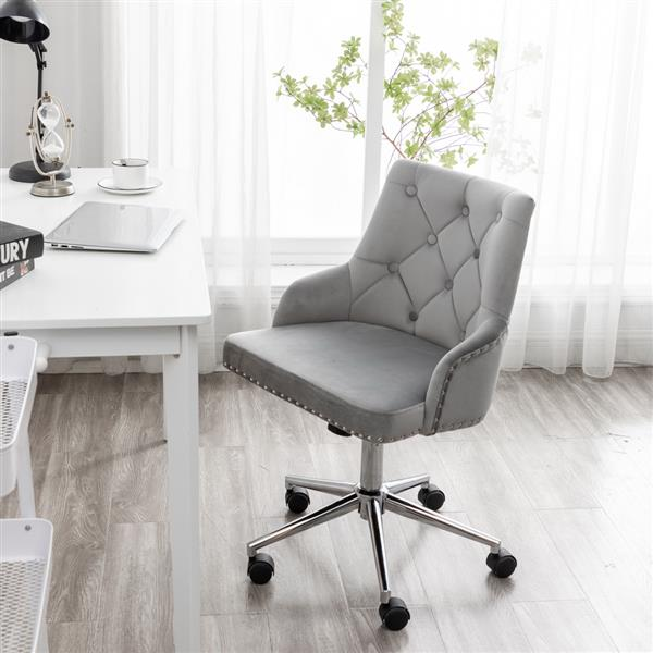 Furniture Home High Back Office Chair , Modern Design Velvet Desk Task Chair with Arms in Study Bedroom (Grey)