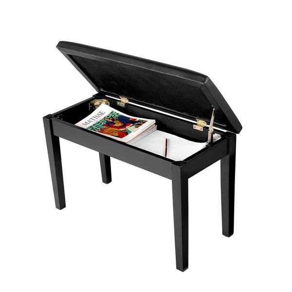 21Inch Wooden Piano Bench with Storage Black