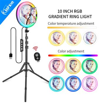 [US Regulations] Kshioe 10 Inch RGB With Beauty Mirror And Tripod Set
