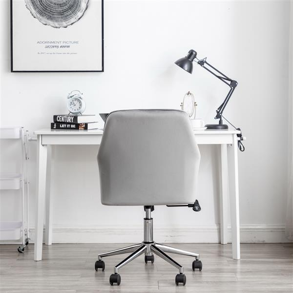 Velvet fabric Home Office Desk  Chair with Metal Base Modern Adjustable Swivel Chair with Arms (Grey)