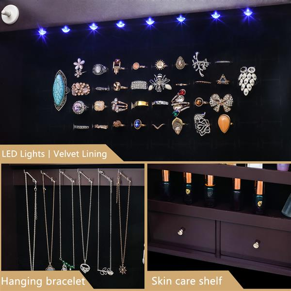 Non full mirror wooden wall mounted 4-layer shelf, 2 drawers, 8 Blue LED lights, jewelry storage mirror cabinet - Dark Brown