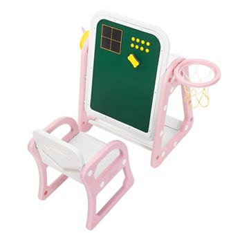 (52 x 67 x 68) Plastic Children's Table and Chair Drawing Board Set with Shooting Ring 1 Table and 1 Chair