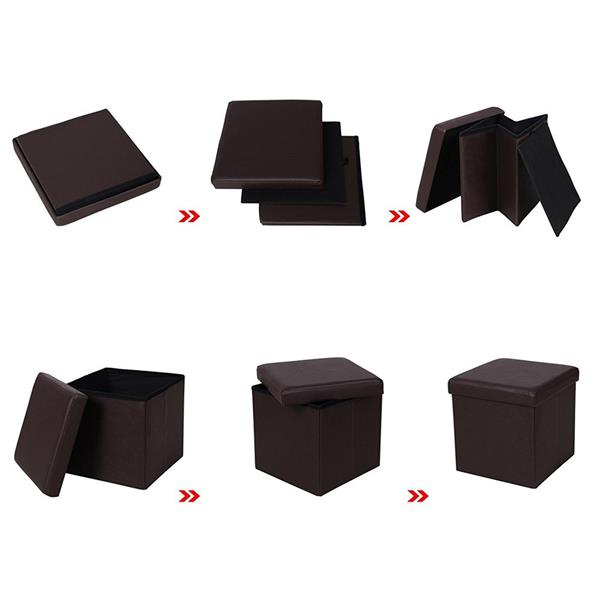 [FCH] PU Leather Smooth Footstool Brown 38*38*38cm