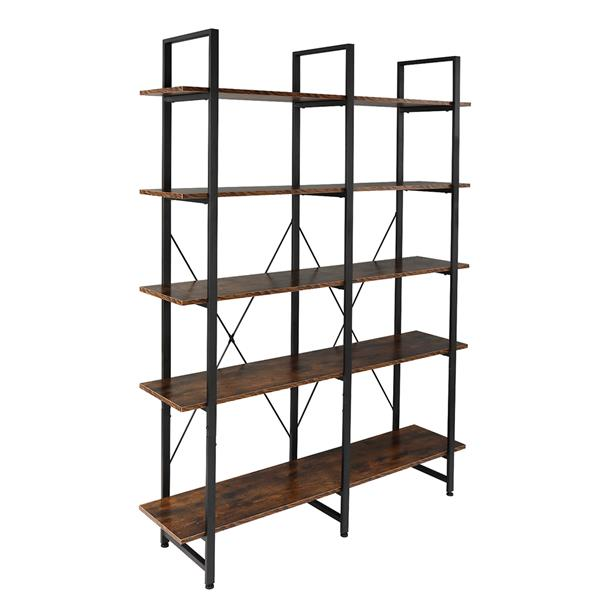 Bookshelf, Double Wide 5-Tier Open Bookcase Vintage Industrial Large Shelves, Wood and Metal Etagere Bookshelves, for Home Decor Display, Office Furniture