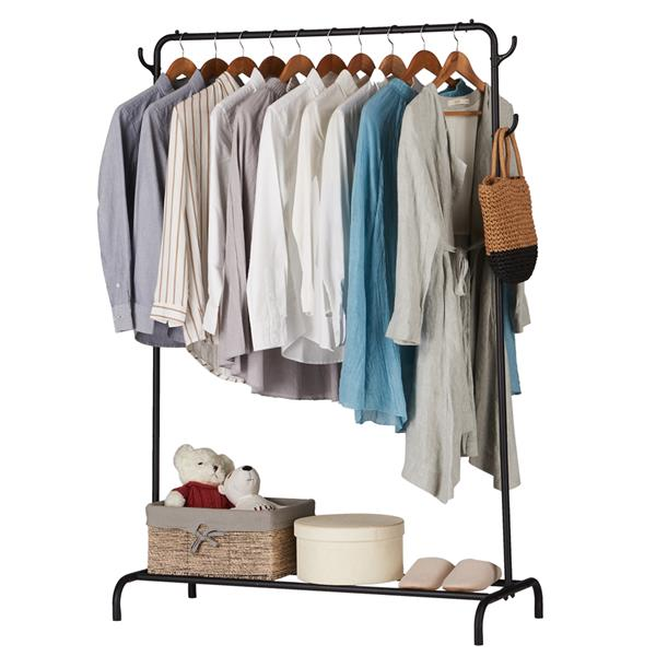 Black Clothing Garment Rack Heavy Duty Commercial Grade Clothes Stand Rack with Top Rod and Hook and Lower Storage Shelf