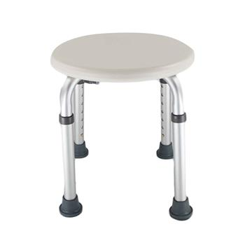 7 Levels Adjustable Aluminum Alloy Elderly Round Shower Stool White