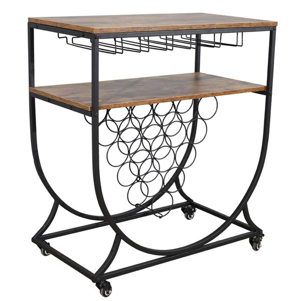 Wine Rack Cart with Glass Holder