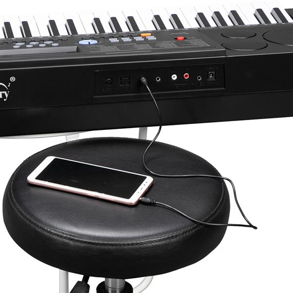 Glarry GEP-102 61 Key Portable Keyboard with Piano Stand, Built In Speakers, Headphone, Microphone, Music Rest, LCD Screen, USB Port & Teaching Modes for Beginners