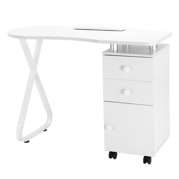 Manicure Table Single Side X Type/2 Drawers/1 Door/Ceramic Handle/With Hand Pillow/With Wheels White