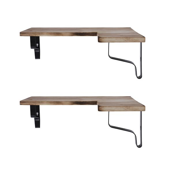 Corner Wall Shelves Rustic Wood Corner Floating Shelves for Bedroom Living Room Bathroom Kitchen Set of 2