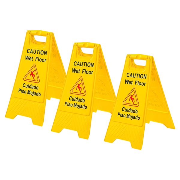 3 x Wet Floor Warning Sign Safety Caution Board with English and Spanish Bilingual Floor Stand Signs  24inch