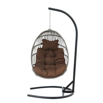 Hanging Chair Wicker Swing Chair Cushion with Steel Support Frame Hanging Egg Basket Seat for Home, Coffee