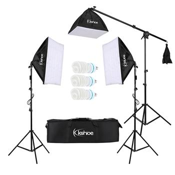 Kshioe 65W Photo Studio Photography 3 Soft Box Light Stand Continuous Lighting Kit Diffuser