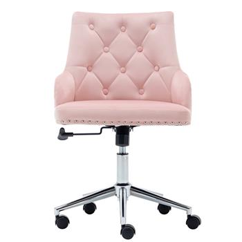 Furniture Home High Back Office Chair , Modern Design Velvet Desk Task Chair with Arms in Study Bedroom (Pink)