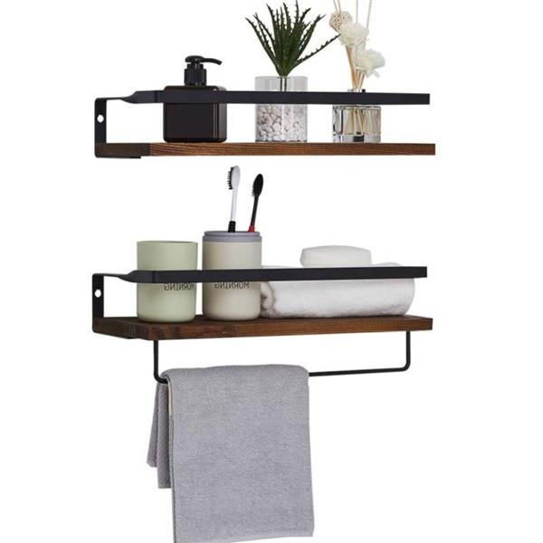 Rustic Wood Wall Mounted Storage Shelf for Bathroom, Kitchen, Bedroom, Living Room Set of 2 with 8 Removable Hooks, Dark Brown