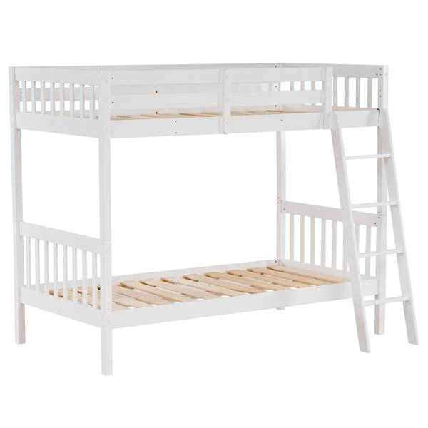 "Pine High Tall Bunk Bed Vertical Version Straight Headboard 65 ""H White"