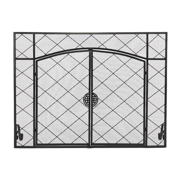 Thin Line Rhombus Small Grid Decoration Double Door Square Wrought Iron Fireplace Screen (111 x 13 x 84)cm
