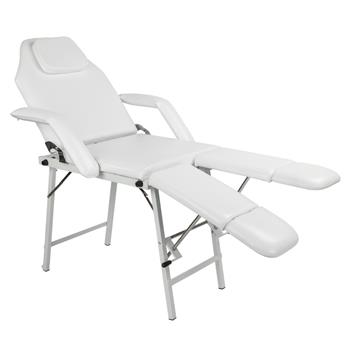 "75"" Adjustable Salon SPA Pedicure Massage Tattoo Therapy Bed Split Leg Chair Beauty Equipment White"