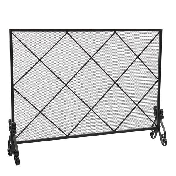 Thick Line Diamond Large Grid Decorative Iron Mesh Fireplace Screen (105 x 22.5 x 81.5)cm