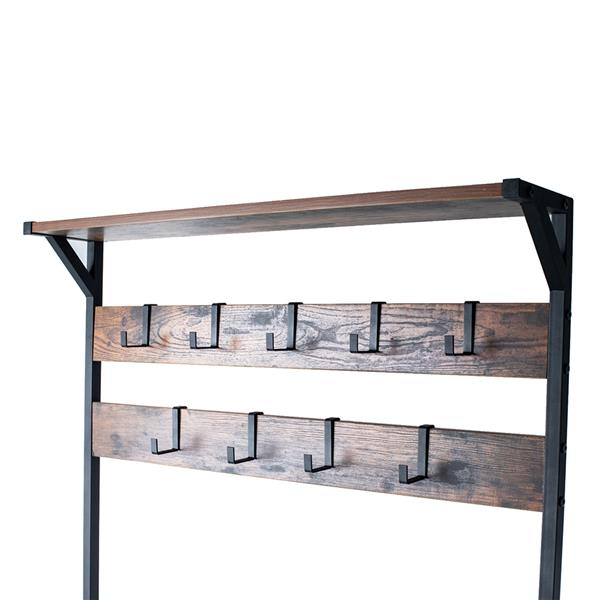 Coat Rack Shoe Bench, Hall Tree Entryway Storage Bench, Wood Look Accent Furniture with Metal Frame, 3-in-1 Design (Rustic Brown)