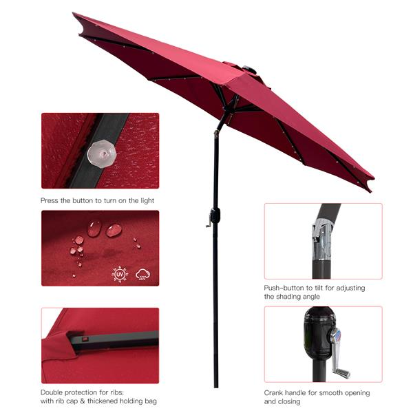 9Ft Patio Umbrella Outdoor Solar Powered Aluminum Polyester 32 LED Lighted Umbrella with Tilt and Crank for Garden, Deck, Backyard, Pool