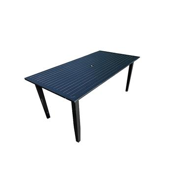 Metal Rectangle Umbrella Table from Patio Metal Dining Furniture Set,for Outdoor Indoor,For Lawn,Garden, Black