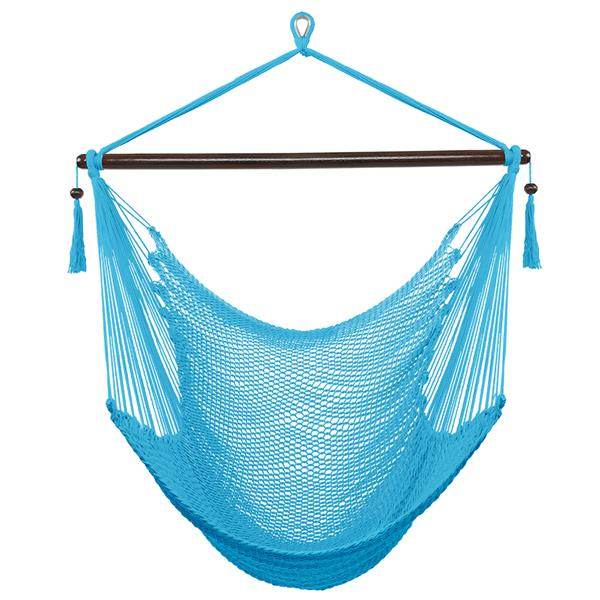 Caribbean Large Hammock Chair Swing Seat Hanging Chair with Tassels Light Blue