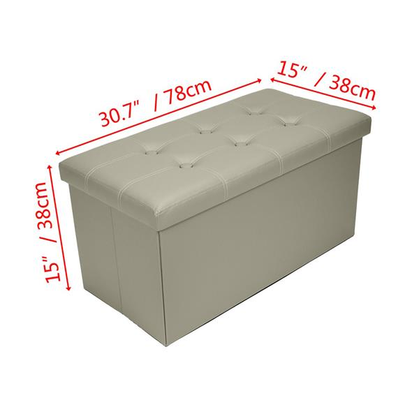 Practical PVC Leather Rectangle Shape with Leather Button Footstool Grey