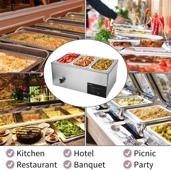 ZOKOP XTC1P-1/3 110V 600W 6.9QT/6.5L 3 Cells Bain Marie Food Warmer