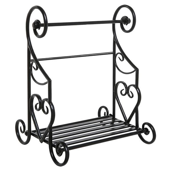 Freestanding Heart Scrollwork Black Metal Kitchen Countertop Paper Towel Holder Stand with Spice/Condiment Shelf Rack