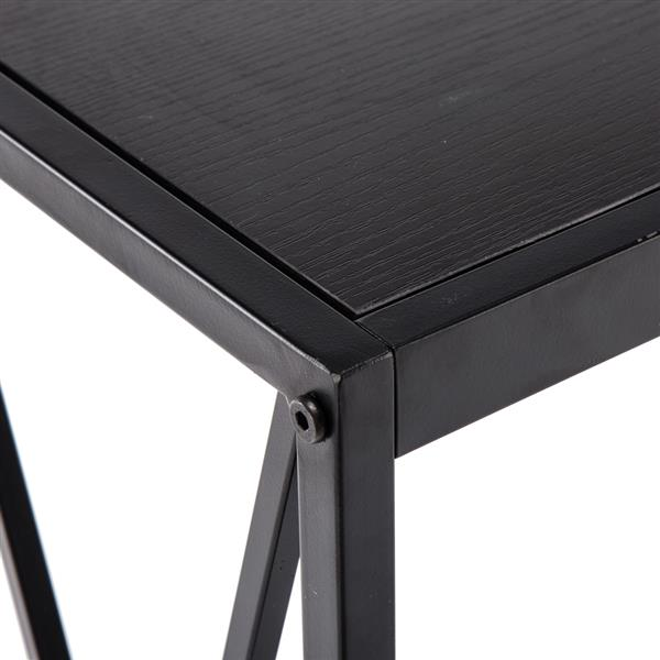 Triamine Board Cross Iron Frame Porch Table Sofa Side Table Black Wood Grain