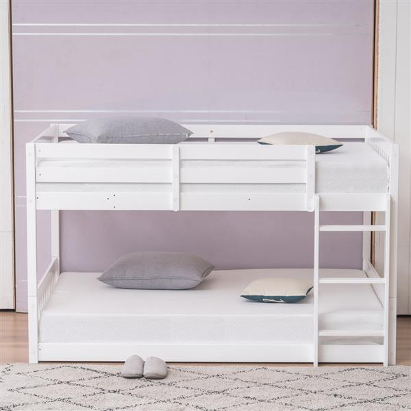 """Pine Wood Short Bunk Bed Vertical Bed Head 47.5 """"H Twin White"""