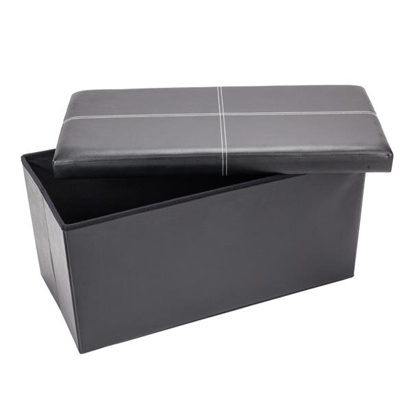 F-03L Practical PVC Leather Rectangle Shape Surface with Line Footstool Black