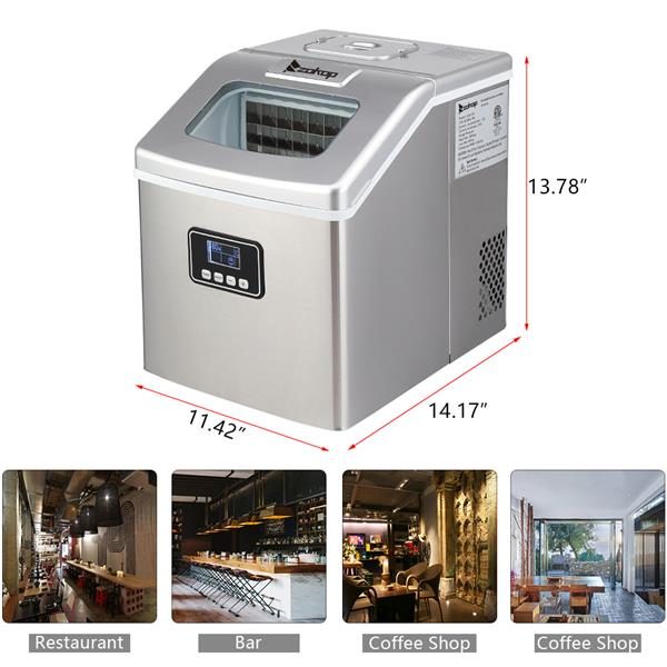ZOKOP HZB-18F/120W/40Lbs/115V/60Hz Stainless Steel Household Ice Maker Silver
